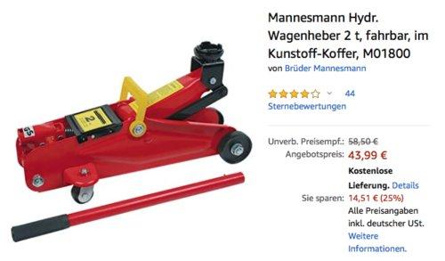 Mannesmann M01800 Hydraulischer Wagenheber, Tragkraft 2t - jetzt 13% billiger