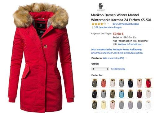 """Marikoo Damen Winterparka """"Karmaa"""" mit Kunstfellkapuze, versch. Farben und Größen - jetzt 19% billiger"""