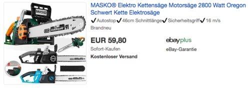 MASKO® Elektro-Kettensäge 2800 Watt, 51 cm Oregon Schwert - jetzt 20% billiger