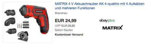 Matrix AK 4-quattro Mini Akkuschrauber mit 4 Aufsätzen, 4 V 1,5 Ah - jetzt 14% billiger