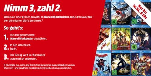 MediaMarkt - Nimm 3, Zahl 2 Aktion auf Marvel Blockbuster (DVDs, Blu-rays) - jetzt 29% billiger
