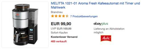 MELITTA 1021-01 Aroma Fresh Kafeeautomat mit Timer und Mahlwerk - jetzt 11% billiger