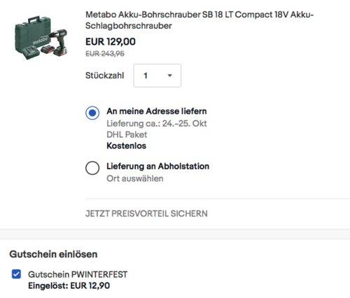 Metabo Akku-Bohrschrauber SB 18 LT Compact inkl. 2 Akkus 2,0Ah, Ladegerät und Koffer - jetzt 19% billiger