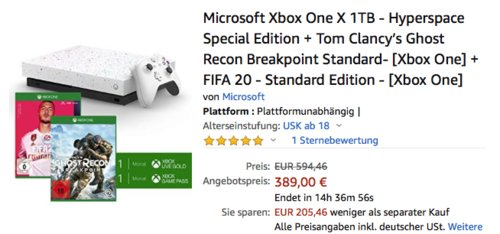 Microsoft Xbox One X 1TB - Hyperspace Special Edition + Tom Clancy's Ghost Recon Breakpoint Standard + FIFA 20 - Standard Edition - jetzt 27% billiger