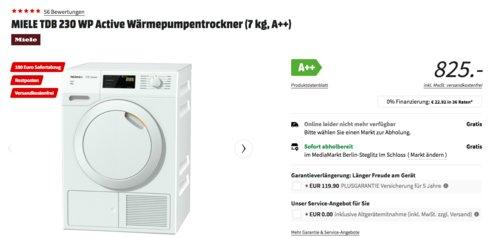 MIELE TDB 230 WP Active Wärmepumpentrockner (7 kg, A++) - jetzt 12% billiger