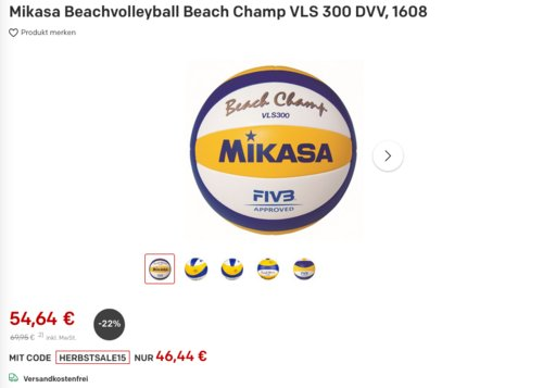 Mikasa Beachvolleyball Beach Champ VLS 300 DVV, 66 - 68 cm - jetzt 15% billiger