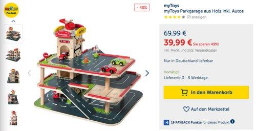 myToys Spielzeug Parkgarage aus Holz inkl. Autos,  48 x 36 x 38 cm - jetzt 35% billiger