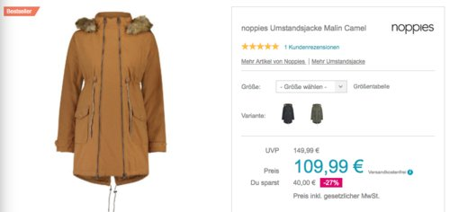 noppies Damen Umstandsjacke Malin, versch. Farben und Größen - jetzt 19% billiger