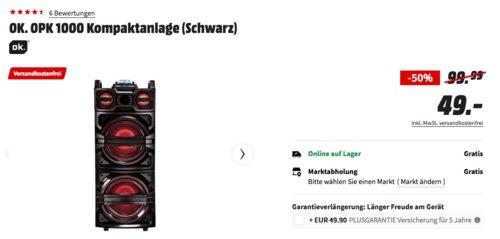 OK. OPK 1000 Kompaktanlage/Partybox 30 Watt, schwarz - jetzt 51% billiger