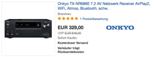 Onkyo TX-NR686E 7.2 AV Netzwerk Receiver (AirPlay2, WiFi, Atmos, Bluetooth, Multiroom, 165 W/Kanal) - jetzt 18% billiger