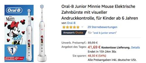 Oral-B Junior Minnie Mouse Elektrische Kinderzahnbürste mit visueller Andruckkontrolle, ab 6 Jahren - jetzt 15% billiger