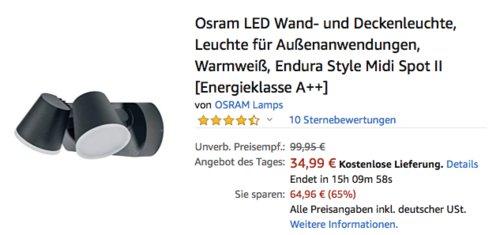 Osram Endura Style Midi Spot II LED Wand- und Deckenleuchte, 20 Watt - jetzt 30% billiger