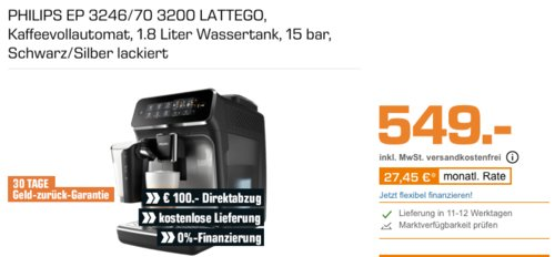 Philips 3200 Serie Lattego EP3246/70 Kaffeevollautomat, 15 bar - jetzt 18% billiger