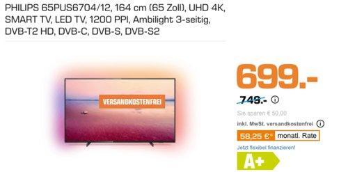 PHILIPS 65PUS6704/12 164 cm (65 Zoll) UHD 4K Fernseher mit 3-seitigem Ambilight - jetzt 7% billiger