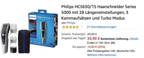 Philips HC5630/15 Haarschneider mit 28 Längeneinstellungen, 3 Kammaufsätzen und Turbo Modus - jetzt 20% billiger
