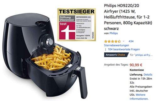 Philips HD9220/20 Heißluftfritteuse/Airfryer für 1-2 Personen, 800g Kapazität - jetzt 20% billiger