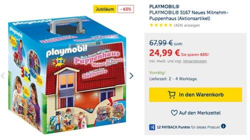 PLAYMOBIL 5167 Neues Mitnehm-Puppenhaus, inkl. Zubehör - jetzt 7% billiger
