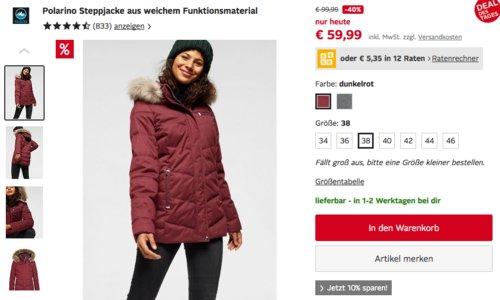 Polarino Damen Steppjacke mit Kapuze, grau oder dunkelrot (34-46) - jetzt 43% billiger