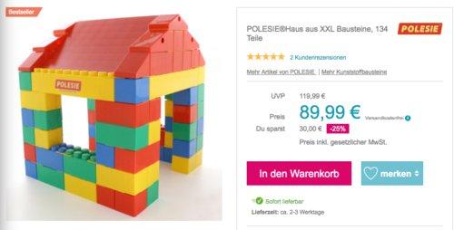 POLESIE Spielhaus aus XXL Bausteine, 134 Teile - jetzt 10% billiger