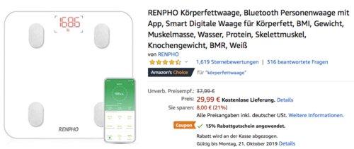 RENPHO ES-26M Smart Digitale Bluetooth-Personenwaage, weiß - jetzt 15% billiger