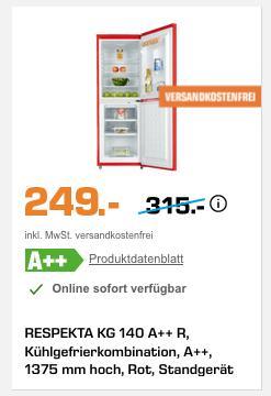 RESPEKTA KG 140 Kühlgefrierkombination in Rot, 1375 mm hoch - jetzt 13% billiger