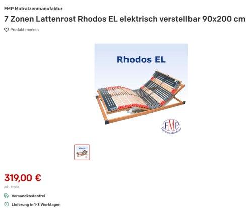 Rhodos EL elektrisch verstellbarer 7 Zonen Lattenrost, 90x200 cm - jetzt 3% billiger