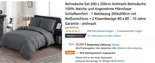RUIKASI Bettwäsche Set 200 x 200cm Bettbezug + 2 x 80 x 80 cm Kissenbezüge  (grau, anthrazit, weiß) - jetzt 20% billiger