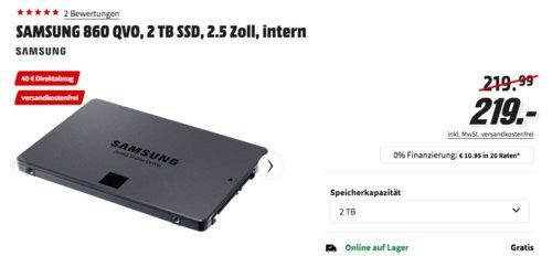 SAMSUNG 860 QVO 2 TB interne SSD-Festplatte - jetzt 18% billiger