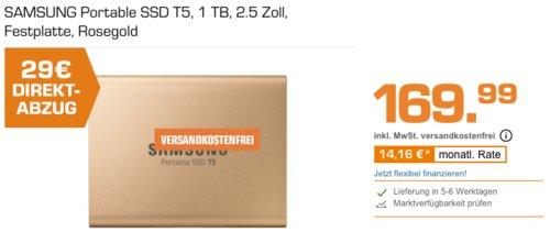 SAMSUNG Portable SSD T5  2.5 Zoll Festplatte 1TB, rosegold - jetzt 17% billiger