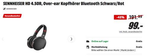 SENNHEISER HD 4.50R Over-ear Bluetooth-Kopfhörer mit Noise-Cancelling, Schwarz/Rot (Special Edition) - jetzt 27% billiger