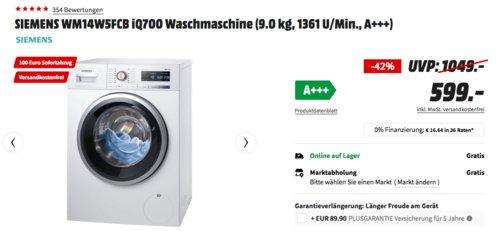 SIEMENS WM14W5FCB iQ700 Waschmaschine (9.0 kg, 1361 U/Min., A+++) - jetzt 17% billiger