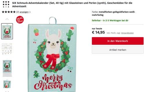 SIX Schmuck-Adventskalender mit Glassteinen und Perlen, 40 tlg. - jetzt 16% billiger