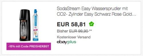 SodaStream Easy Wassersprudler in Schwarz Rose Gold Edition, inkl. Co² Zylinder und 1,0 Liter PET-Flasche - jetzt 15% billiger