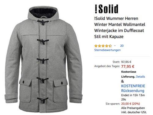 !Solid Wummer Herren Winter Wollmantel mit Kapuze, versch. Farben und Größen (S- XXL) - jetzt 20% billiger