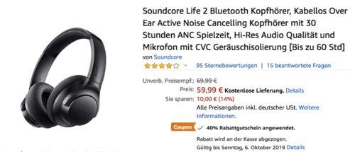 Soundcore Life 2 Bluetooth Kopfhörer mit Aktiver Geräuschunterdrückung (ANC) - jetzt 40% billiger