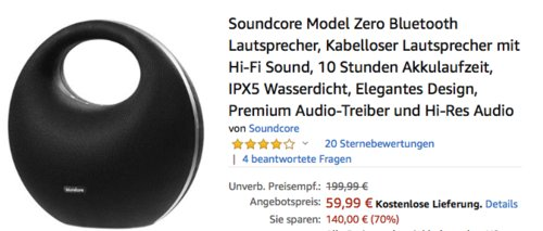 Soundcore Model Zero Bluetooth-Lautsprecher mit Hi-Fi Sound - jetzt 18% billiger