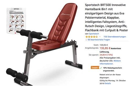 Sportstech BRT500 Innovative 8in1 Hantelbank, rot - jetzt 10% billiger