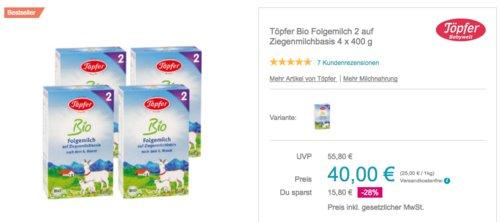 Töpfer Bio Folgemilch 2 auf Ziegenmilchbasis, 4 x 400g Pack - jetzt 10% billiger