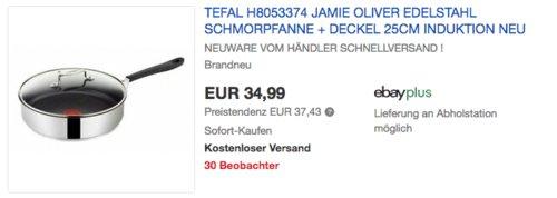 Tefal H8053374 Jamie Oliver 25cm Edelstahl Schmorpfanne + Glasdeckel - jetzt 20% billiger