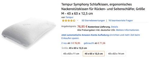 Tempur Symphony ergonomisches Nackenstützkissen für Rücken- und Seitenschläfer, Größe M - 43 x 63 x 12,5 cm - jetzt 14% billiger