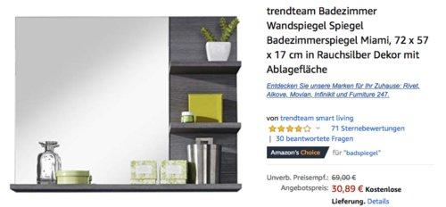 trendteam Badezimmerspiegel Miami, 72 x 57 x 17 cm - jetzt 33% billiger