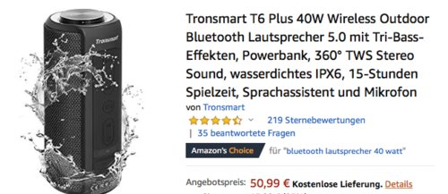 Tronsmart T6 Plus 40W Outdoor Bluetooth-Lautsprecher, schwarz - jetzt 20% billiger