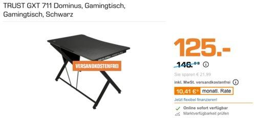TRUST GXT 711 Dominus 116 cm Gamingtisch, schwarz - jetzt 13% billiger