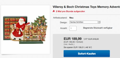 """Villeroy & Boch Adventskalender """"Santa Schlitten"""", Hartporzellan - jetzt 9% billiger"""