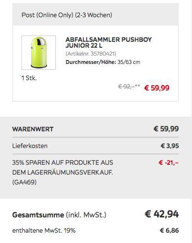 Wesco Abfallsammler Pushboy Junior 22 Liter, limette - jetzt 33% billiger