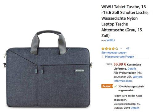 WIWU 15 -15.6 Zoll Tablet Tasche, grau - jetzt 70% billiger