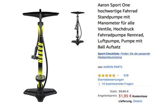Aaron Sport One hochwertige Fahrrad Standpumpe bis 11 Bar, gelb oder grau - jetzt 20% billiger