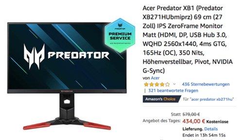 Acer Predator XB271HUbmiprz 27 Zoll Gaming-Monitor (WQHD 2560x1440, 4ms GTG, 165Hz) - jetzt 22% billiger