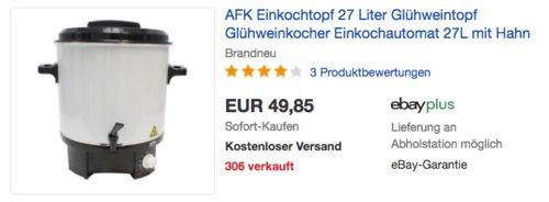 AFK WWS-27.1 27 Liter Einkochtopf/Glühweintopf, 1800 W - jetzt 23% billiger