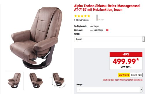 Alpha Techno Shiatsu-Relax-Massagesessel AT-7157 mit Heizfunktion, grau oder grau - jetzt 15% billiger